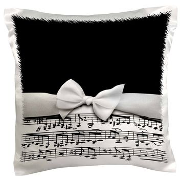 3dRose Stylish musical notes faux ribbon and bow - black and white sheet musi...
