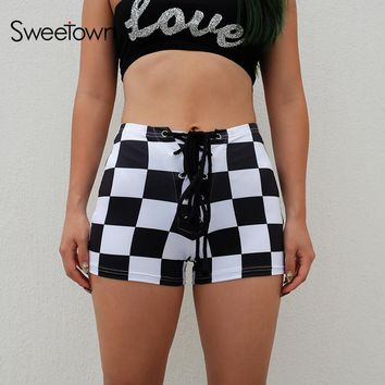 Sweetown Lace Up High Waisted Shorts For Women Sexy Skinny Plaid Short Femme Summer Fashion Elastic Checkerboard Shorts Fitness
