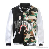 Fashion Men's Hip Hop Baseball Clothing Camouflage Splice Loose Jacket Student Long Sleeve Baseball Jacket Men Women Cardigan Jacket