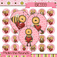 Valentine's Day Bees Digital Collage - 1 inch Circle Bottle Cap Image - Instant Download