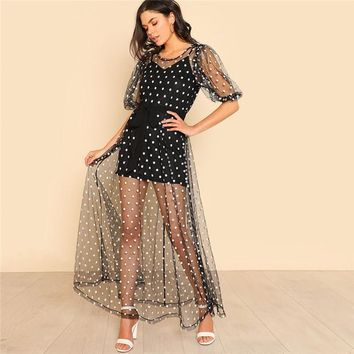 Women Polka Dot Tie Waist Sheer Dress  Half Sleeve  Dress Zipper Sexy Sheer Dress