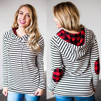Women's Plaid Hoodie/Patchwork Pullover