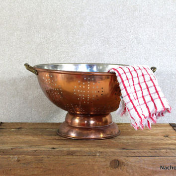 Copper, Tin & Brass Colander Vintage Kitchen Decor