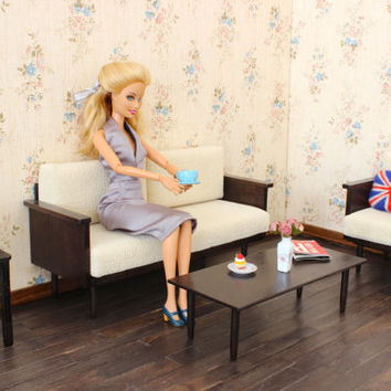 1/6 scale Mid Century sofa for dolls(Blythe, Barbie, Bratz, Momoko, etc.).