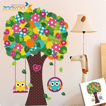 Hand some tree wise owls adhesive wallpaper for children decorate the room nursery children cartoon decals PVC animal wall DIY SM6