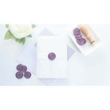 Elegant Purple Vellum and Wax Seal Wedding Invitation - DEPOSIT