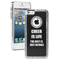 Apple iPhone 5 5S Black 5S433 Rhinestone Crystal Bling Aluminum Plated Hard Case Cover Cheer Is Life