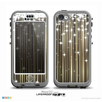 The Gold & White Shimmer Strips Skin for the iPhone 5c nüüd LifeProof Case