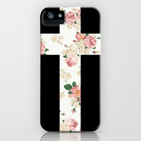 Floral Cross iPhone & iPod Case by LookHUMAN