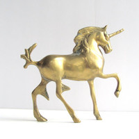 Vintage Brass Unicorn Figurine Statue. Home Wedding Hollywood Regency Decor