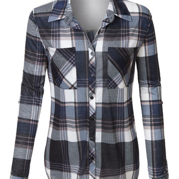LE3NO Womens Plaid Long Sleeve Button Down Shirt with Back Lace Detail