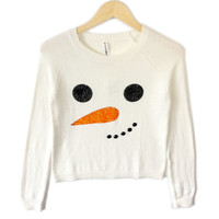 Bethany Mota Blingy Snowman Face Cropped Ugly Christmas Sweater