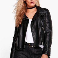 Plus Lily Biker Collar Faux leather Jacket | Boohoo
