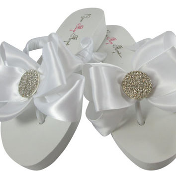 Beautiful & Fabulous Wedding Bridal Flip Flops- Choose Bling-Size-colors- Heel- customizable in your choices for Bride and Bridesmdais