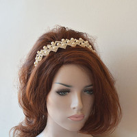 Bridal Crown, Wedding Crown, Rhinestone and Pearl Tiara, Bridal Headband, Bridal Hair Accessory, Wedding hair Accessory