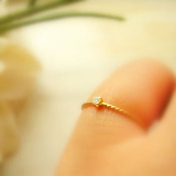 Tiny Diamond Solitaire Ring, Promise Ring, Pinky Ring, Engagement Ring, Recycled 14K Gold - made to order in your finger size