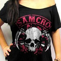 Sons Of Anarchy Girls Fashion Top - Skull Forever Pink