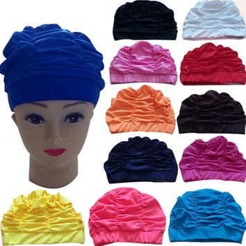 Sexy Womens Girls Swimming Caps Waterdrop Silicon Unisex Adult Waterproof Bathing Cover Protect Ear Swim Hat 5 Colors