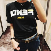 """Fendi"" Women Casual Fashion Letter Embroidery Short Sleeve T-shirt Top Tee"
