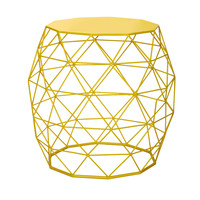 Adeco Round Triangle Pattern Bright Yellow Iron Table/ Stool | Overstock.com Shopping - The Best Deals on Coffee, Sofa & End Tables
