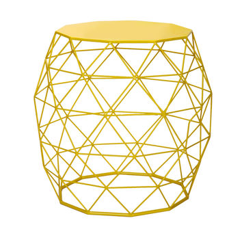 Adeco Round Triangle Pattern Bright Yellow Iron Table/ Stool   Overstock.com Shopping - The Best Deals on Coffee, Sofa & End Tables