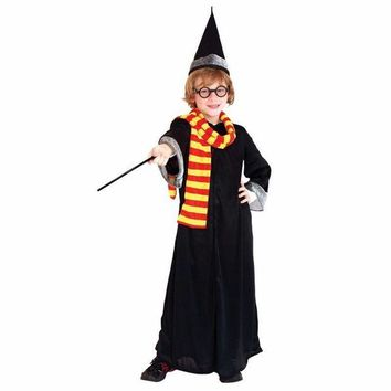 LMFON Boys Kids Children Harri Potter Cloak Costume Gryffindor Enchanter Cosplay Costume Magic Wand Halloween Costumes For Harry Potte