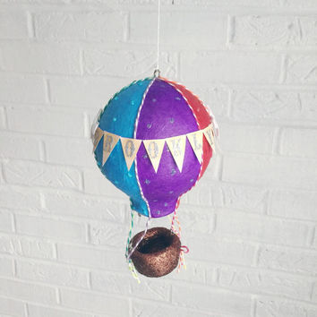 Hot Air Balloon Mobile, Travel Theme Nursery, Baby Mobile, Crib Mobile, Hot Air Balloon Decor, Baby Shower Gift Girl, Rainbow Nursery