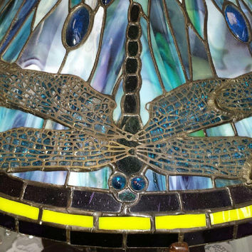 exquisite tiffany style stained glass dragonfly lamp shade jewel encrusted with filigree wings one