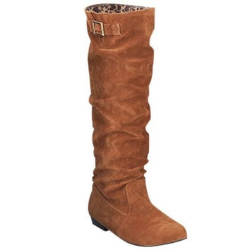Leopard Inner Design Boots With Ruched and Buckle Design