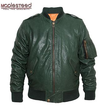 MAPLESTEED M86 Flight Jacket Mens Genuine Leather Jacket Men Leather Coat Bomber Jacket Black Wine Red Army Green Plus Size 097