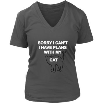 Sorry I can't- I have plans with my cat Women's V-Neck