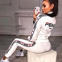 FENDI Autumn Winter Women Casual High Collar Long Sleeve Top Pants Trousers Set Two-Piece Sportswear White