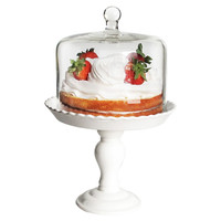 Pedestal Plate w/ Glass Dome, White