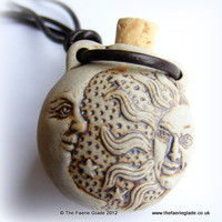 Celestial Sun Moon Ceramic Bottle Pendant Unisex on Brown Leather