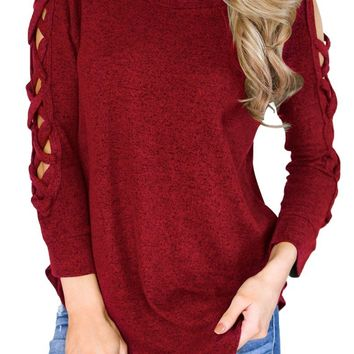 Burgundy Hollow-out Crisscross Shoulder Top for Women