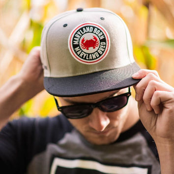 Maryland Born Maryland Bred (Grey & Black Brim) / Canvas Snapback Hat
