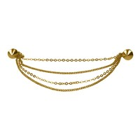 Evelots Goldtone Round Stud Collar Brooch Pin,Stylish Shawl/Sweater Collar Clip