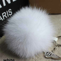 13cm fox fur pom pom luxury bag pendant + leather cord metal buckle keychain bag charm accessory Crystal White