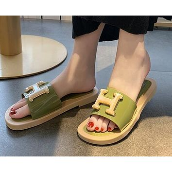 Hermes Summer Popular Women Casual H Letter Sandal Slipper Shoes Green