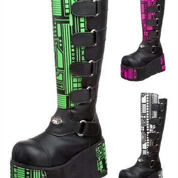 Techno 850 UV Interchangeable Panels Green / White / Pink Cyber  Platform Knee Boot