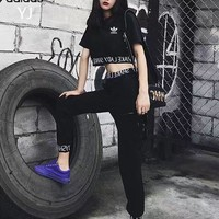 """Adidas"" Women Casual Fashion Knit Letter Short Sleeve Crop Tops High Waist Slim-fit Pants Trousers Set Two-Piece"