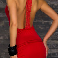 Red Backless Bodycon Dress