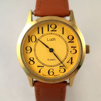 "Vintage Men's ""RAY"" (LUCH) wristwatch.15J mechanical, round face, Soviet  USSR watch. Gift for him"