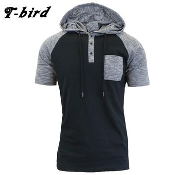 T-Bird New Brand 2017 Male Slim Fit T Shirt Button Hooded Mens Cotton Short Sleeve T-Shirts Men Summer Tee Casual Tshirt Men XXL