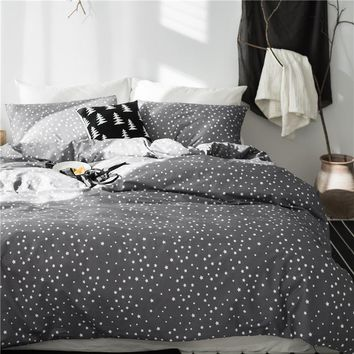 Cool Grey star 100%Cotton Cute Kids Twin Bedding Set Queen King Double size Bed set Duvet/Quilt cover Bed sheet set soft BedlinensAT_93_12