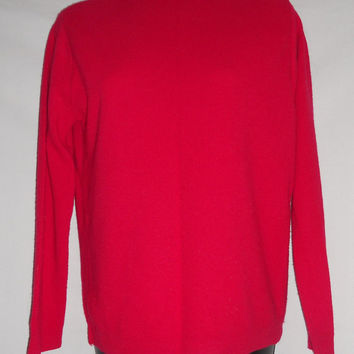 Vintage 80s Super Soft Carol Brent Sweater Red Cute Collar Blouse Shirt