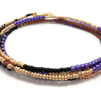Multi strand seed bead bracelet, wrap beaded bracelet, layering necklace, boho jewelry, bohemian, stackable, anklet, purple, gold and black