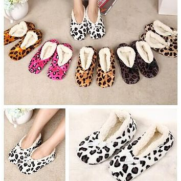 Soft Plush Leopard Slippers