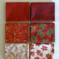 Cotton Fabric, Quilt, Home Decor, Christmas Fat Quarter Bundle of 6, Shades of Red, RJR Fabrics, Fast Shipping
