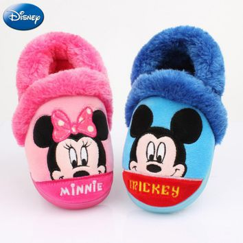 Disney Children Home Slippers Girls Minnie Mouse Mickey 2018 Shoes Winter Boys Plush Warm Cotton Non-slip Indoor Baby Infant